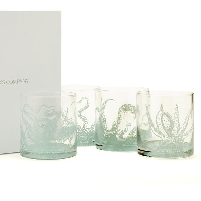 """""""Octopus"""" Set of Four Ocean Water Double Old Fashioned Glasses"""