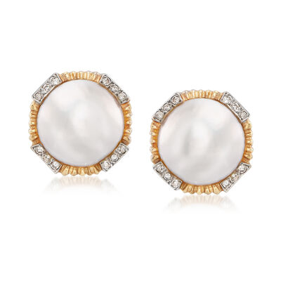 C. 1970 Vintage 15mm Mabe Pearl and .35 ct. t.w. Diamond Clip-On Earrings in 14kt Yellow Gold, , default