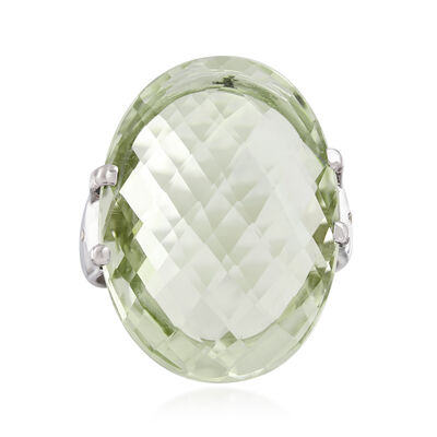 20.00 Carat Prasiolite Ring with White Zircon Accents in Sterling Silver