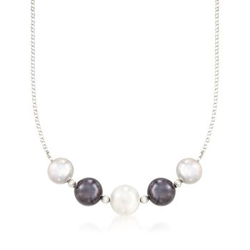 """12-14mm Multicolored Cultured Pearl Necklace in Sterling Silver. 17"""", , default"""