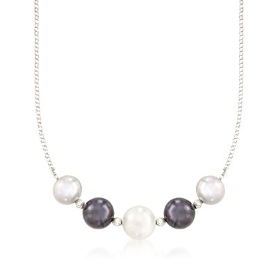 12-14mm Multicolored Cultured Pearl Necklace in Sterling Silver, , default