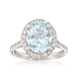 3.20 Carat Aquamarine and .55 ct. t.w. Diamond Ring in 14kt White Gold, , default