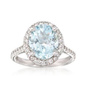 3.20 Carat Aquamarine and .55 ct. t.w. Diamond Ring in 14kt White Gold, , default