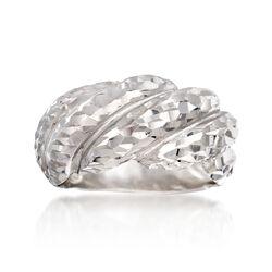 Italian Sterling Silver Diamond-Cut Shrimp Ring, , default