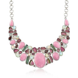 40.30 ct. t.w. Multi-Stone Bib Necklace in Sterling Silver, , default