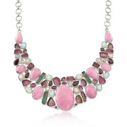 40.30 ct. t.w. Multi-Stone Bib Necklace in Sterling Silver, , default