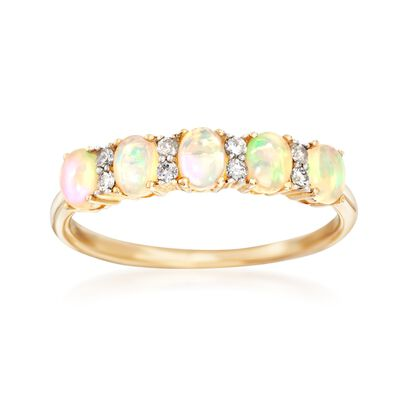 Five-Stone Opal and .10 ct. t.w. Diamond Ring in 14kt Yellow Gold, , default