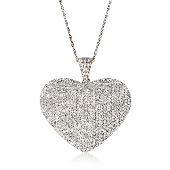 2.00 ct. t.w. Diamond Heart Pendant Necklace in Sterling Silver, , default