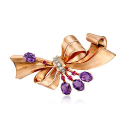 C. 1950 Vintage 4.60 ct. t.w. Amethyst and .20 ct. t.w. Ruby Bow Pin With Diamonds in 14kt Rose Gold, , default