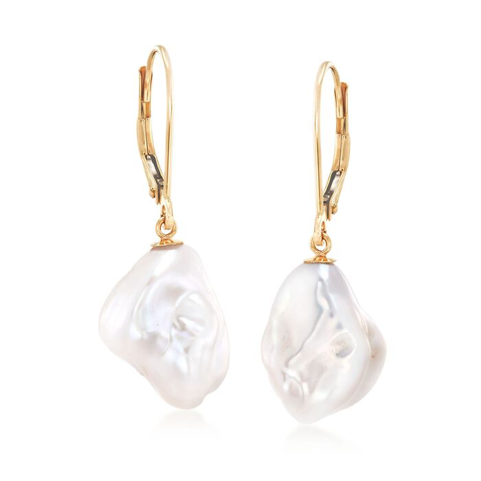 11-12mm Cultured Keshi Baroque Pearl Drop Earrings in 14kt Yellow Gold, , default