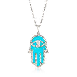Blue Enamel and .95 ct. t.w. White Zircon Hamsa Hand Pendant Necklace in Sterling Silver, , default