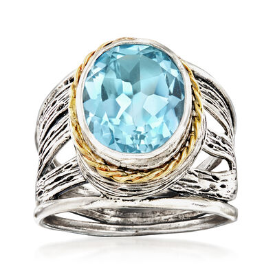 5.00 Carat Blue Topaz Openwork Ring in Sterling Silver and 14kt Yellow Gold, , default