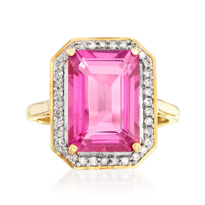 6.50 Carat Pink Topaz and .23 ct. t.w. Diamond Ring in 14kt Yellow Gold, , default