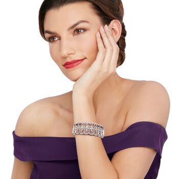 """.13 ct. t.w. Diamond Openwork Bangle Bracelet in Sterling Silver. 7.5"""""""
