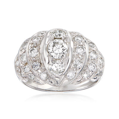 C. 1950 Vintage 1.40 ct. t.w. Diamond Dome Ring in 14kt White Gold