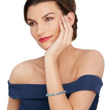 """30.00 ct. t.w. Blue Topaz Tennis Bracelet in Sterling Silver. 7.25"""", , default"""