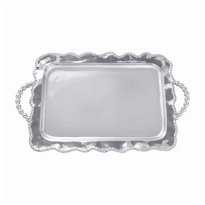 """Mariposa """"String of Pearls"""" Pearled Wavy Service Tray, , default"""