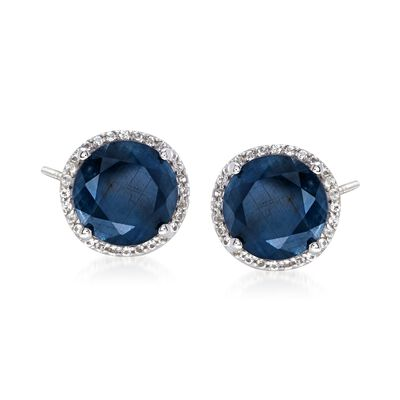 6.50 ct. t.w. Opaque Blue Sapphire and .20 ct. t.w. White Topaz Stud Earrings in Sterling Silver , , default