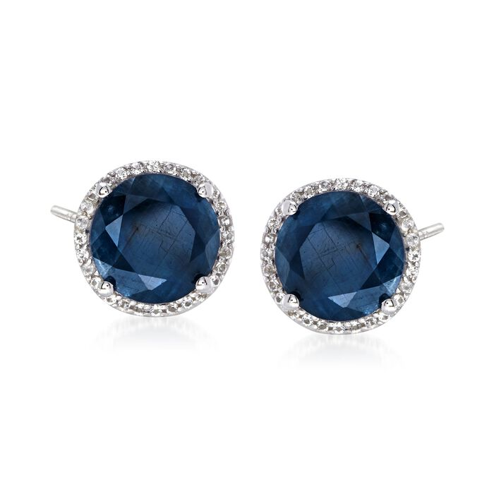 6.50 ct. t.w. Opaque Blue Sapphire and .20 ct. t.w. White Topaz Stud Earrings in Sterling Silver, , default