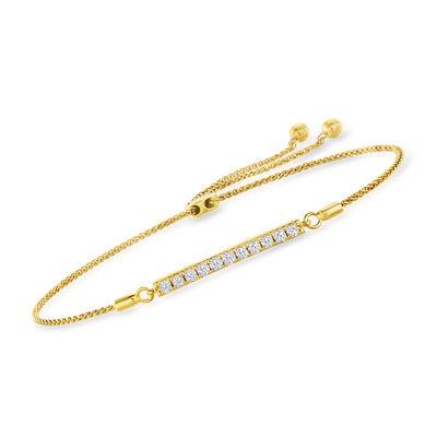 .50 ct. t.w. Diamond Bar Bolo Bracelet in 18kt Gold Over Sterling