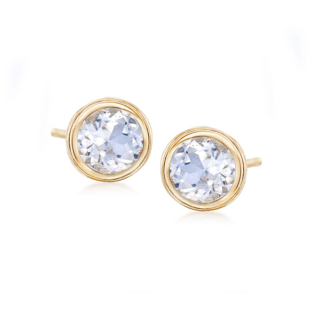 T W Bezel Set White Topaz Stud Earrings In 14kt Yellow Gold