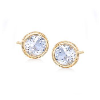 1.20 ct. t.w. Bezel-Set White Topaz Stud Earrings in 14kt Yellow Gold, , default