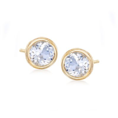 1.20 ct. t.w. Bezel-Set White Topaz Stud Earrings in 14kt Yellow Gold, , default