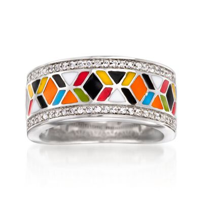 "Belle Etoile ""Forma"" .35 ct. t.w. CZ and Multicolored Enamel Ring in Sterling Silver, , default"