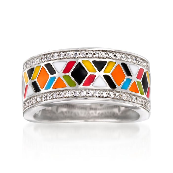"""Belle Etoile """"Forma"""" .35 ct. t.w. CZ and Multicolored Enamel Ring in Sterling Silver. Size 7, , default"""
