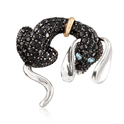 4.42 ct. t.w. Black Spinel Dog Pin with .10 ct. t.w. Blue Topaz in Sterling and 14kt Gold, , default