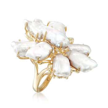 C. 1990 Vintage 14x7mm Cultured Baroque Pearl Ring in 14kt Yellow Gold. Size 8, , default