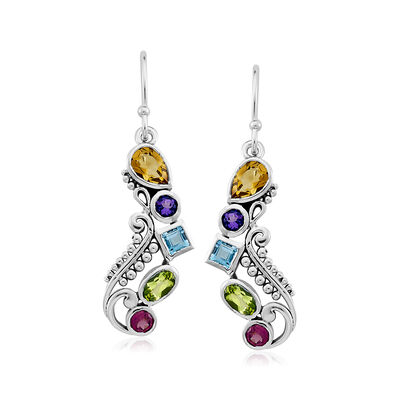 1.50 ct. t.w. Multi-Gemstone Drop Earrings in Sterling Silver