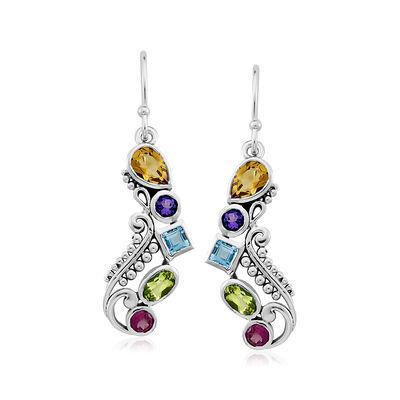 1.50 ct. t.w. Multi-Gemstone Drop Earrings in Sterling Silver, , default