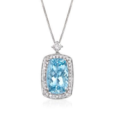 4.90 Carat Aquamarine and .32 ct. t.w. Diamond Pendant Necklace in 14kt White Gold, , default