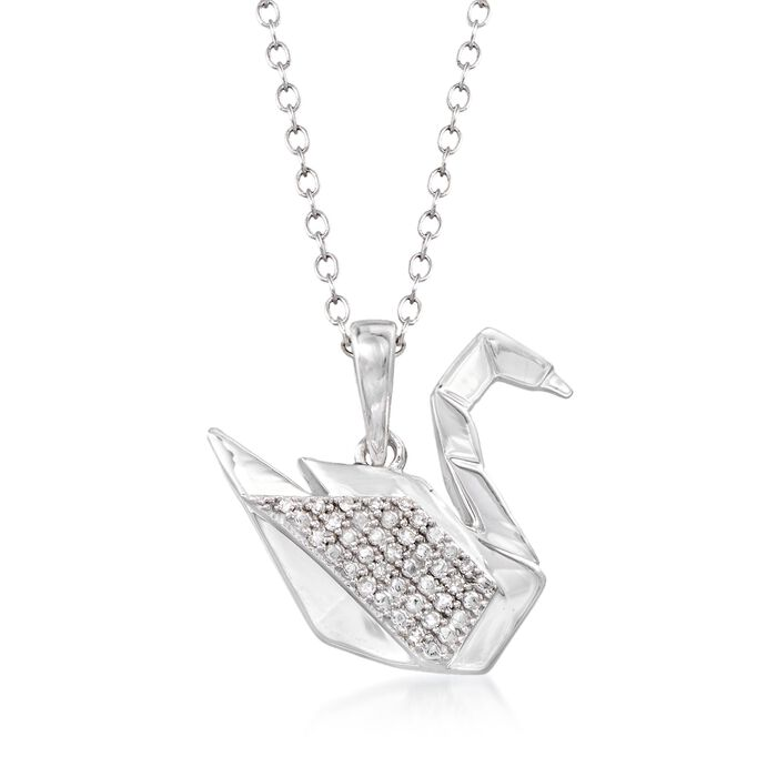 Sterling Silver Swan Pendant Necklace with Diamond Accents. 18""