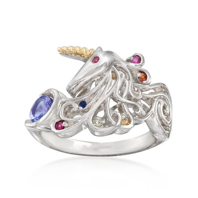 .50 ct. t.w. Multi-Gem Unicorn Ring in Sterling Silver and 14kt Yellow Gold, , default