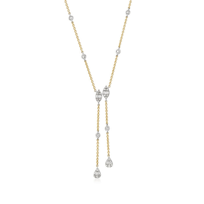 .40 ct. t.w. Diamond Lariat Necklace in 14kt Two-Tone Gold