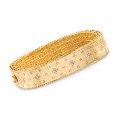 "Roberto Coin ""Princess"" .87 ct. t.w. Diamond Bangle Bracelet in 18kt Yellow Gold. 7"", , default"