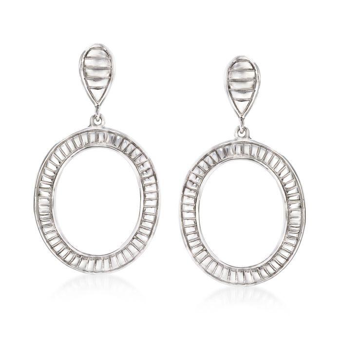 Sterling Silver Striped Open Circle Drop Earrings, , default
