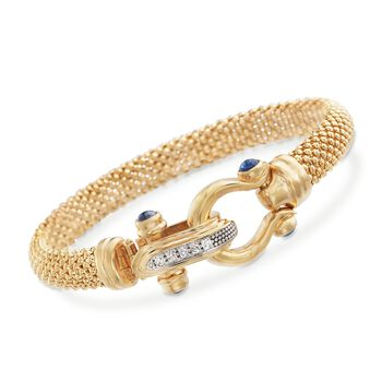 """Italian 14kt Yellow Gold Popcorn Chain Bracelet With Sapphire and Diamond Clasp. 7.5"""", , default"""
