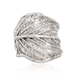 Sterling Silver Leaf Statement Ring, , default