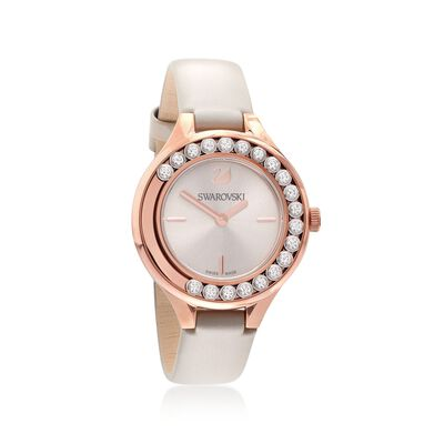 Swarovski Crystal Lovely Crystals Women's Rose Goldtone Stainless Watch With Gray Leather, , default