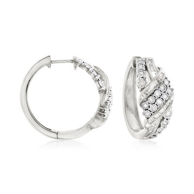 1.00 ct. t.w. Baguette and Round Diamond Ribbon Hoop Earrings in Sterling Silver