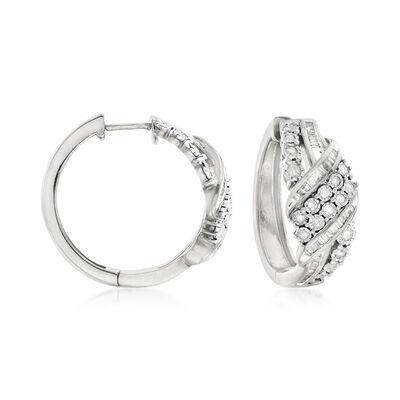 1.00 ct. t.w. Baguette and Round Diamond Ribbon Hoop Earrings in Sterling Silver, , default