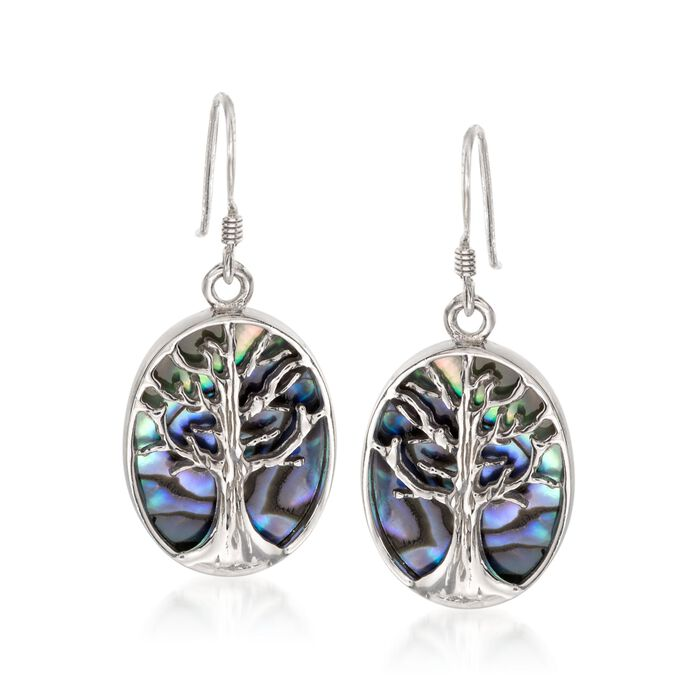 Abalone Tree of Life Drop Earrings in Sterling Silver , , default