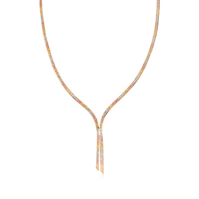 C. 1990 Vintage 14kt Tri-Colored Gold Herringbone Y-Necklace, , default