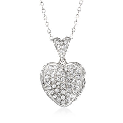 C. 1980 Vintage 1.50 ct. t.w. Diamond Heart Pendant Necklace in 14kt White Gold
