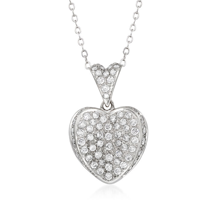 C. 1980 Vintage 1.50 ct. t.w. Diamond Heart Pendant Necklace in 14kt White Gold. 18""