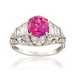 C. 2000 Vintage 2.40 Carat Pink Sapphire and 1.05 ct. t.w. Diamond Ring in 18kt White Gold, , default