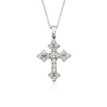 "Simon G. .45 ct. t.w. Diamond Cross Pendant Necklace in 18kt White Gold. 17"", , default"